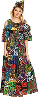 Sakkas Tany Women's Cold Shoulder Smocked Ruffled African Ankara Maxi Long Dress