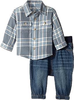 Ralph Lauren Baby - Plaid Shirt & Denim Jogger Set (Infant)