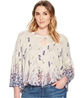 Lucky Brand Plus Size Border Print Peasant Top