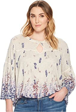 Lucky Brand - Plus Size Border Print Peasant Top