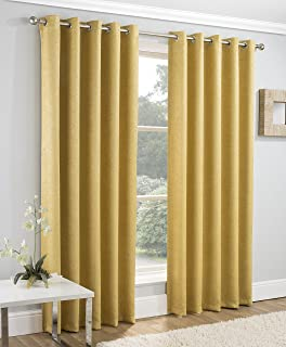 """Enhanced Living Vogue Ochre, Lined Eyelet Curtain, Ring Top, Thermal, Blockout Curtain (Width - 90"""" (229cm) x Drop - 108"""" (274cm))"""