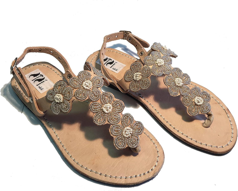SISI mbili Women's Sandals flip Flops Kenya Original Silver Flower Pattern with Handmade Beads Unique Pieces