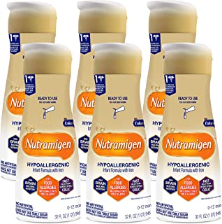 Nutramigen Hypoallergenic Infant Formula From Enfamil - Lactose & Milk Free Formula - Ready to Use Liquid, 32 fl oz (6 count) - Cow's Milk Allergy Management, Omega 3 DHA, Iron, (Package May Vary)