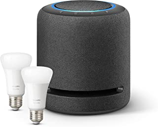 Echo Studio + Lampadine intelligenti a LED Philips Hue White, confezione da 2 lampadine, compatibili con Bluetooth e Zigbe...