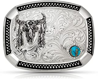 Montana Silversmiths Wheatland Lake Turquoise Buckle with Ceremonial Buffalo