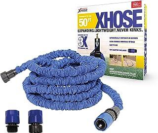 X-Hose The Official XHose Expanding Garden Hose Pipe with Bonus Adaptor, 50ft, Blue
