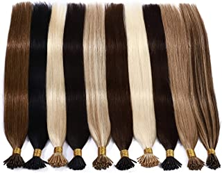 S-noilite Pre Bonded I Tip Remy Human Hair Extensions 100 Strands Full Head Cold Fusion Extensions 0.5g/s 50grams/Package Soft Straight Keratin Stick in Hair Extensions #4/27 Medium Brown/Dark Blonde