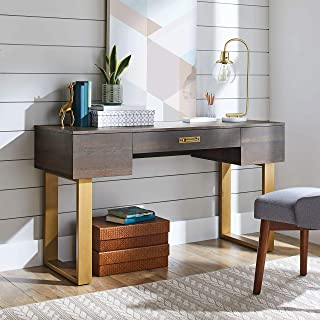 Sturdy,Versatile and Elegant BHG Lana Modern 3-Drawer Writing Desk,Toasted Brown Ash Finish,Use as a Desk in Your Home Office,Sofa Table or Console Table for Your Entertainment Center