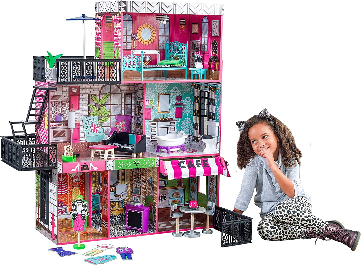 KidKraft 65922 Brooklyn's Loft wooden Dollhouse with 3 levels of play and 25 accessories included