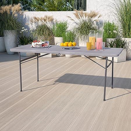 Flash Furniture 6-Foot Bi-Fold Dark Gray Plastic Folding Table with Carrying Handle