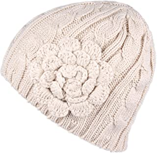 C.C Women's Knitted Beanie with Chunky Flower Accent (HAT-31)