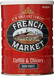 French Market Coffee, Coffee & Chicory, Dark Roast Ground Coffee, 12 Ounce Metal Can