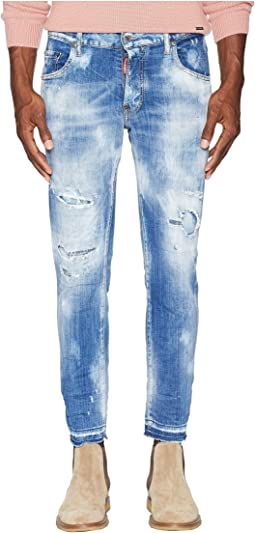 Light Super Bleached Holes Skater Jeans