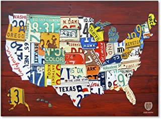 License Plate Map USA by Design Turnpike, 14x19-Inch Canvas Wall Art