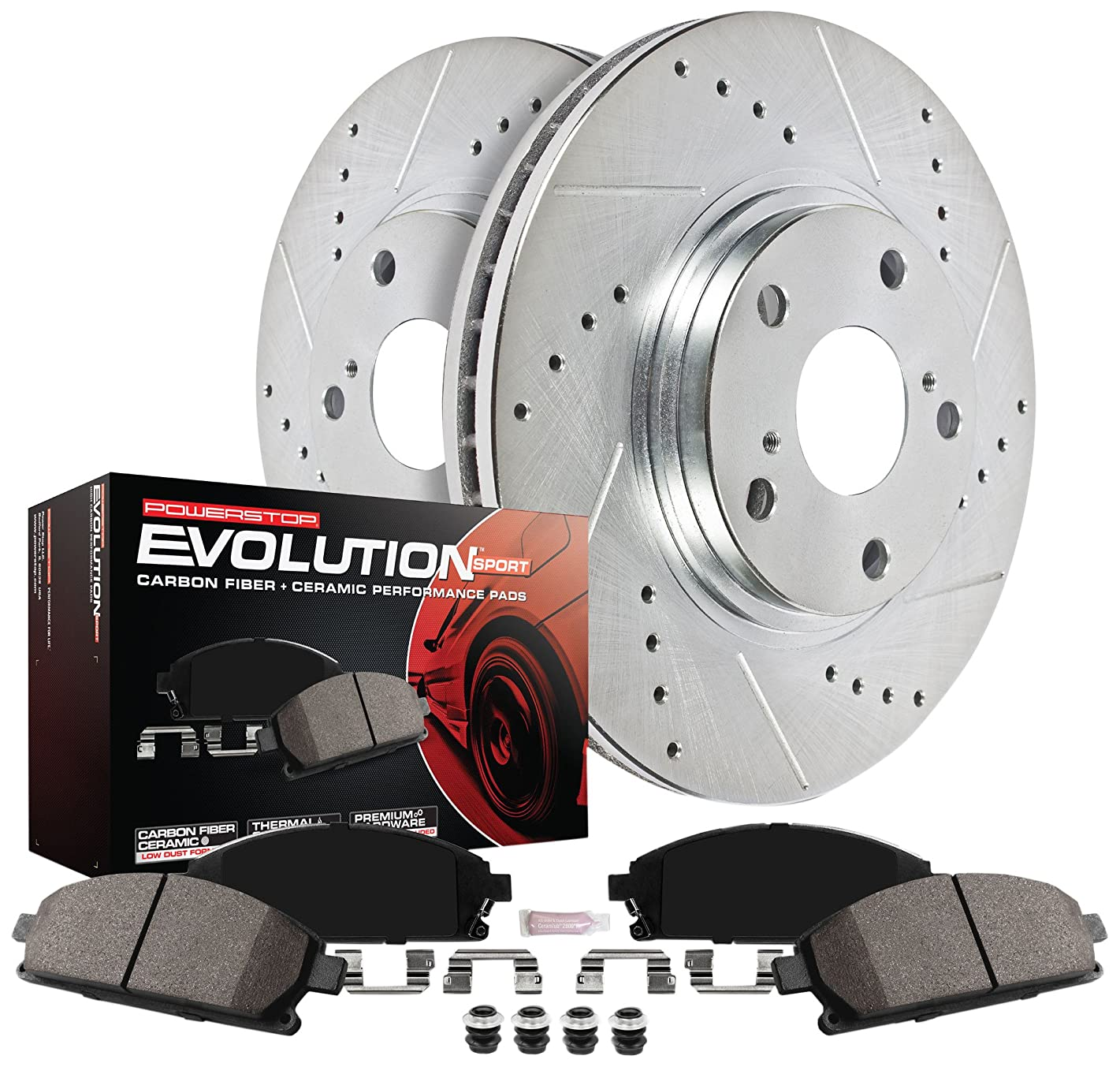 Power Stop K6026 Front Z23 Evolution Kit with Drilled/Slotted Rotors and Ceramic Brake Pads