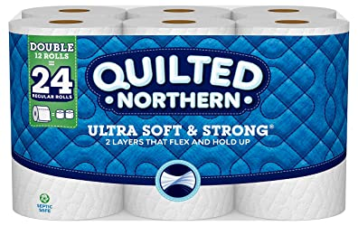 Quilted Northern Ultra Soft & Strong Toilet Paper, 12 Double Rolls, 12 = 24 Regular Bath Tissue Roll