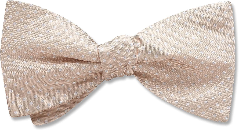 Oriel Champagne White Polka Dot, Men's Bow Tie, Handmade in the USA