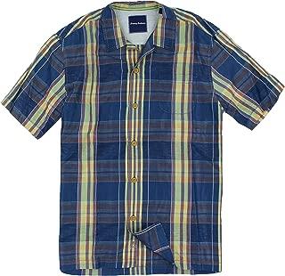 TB Tommy Bahama Men's Murano Plaid Camp Shirt (Large, Dark Sea)