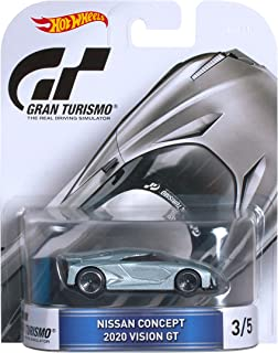 Hot Wheels Retro Entertainment Gran Turismo Nissan Concept 2020 Vision GT Die-Cast Vehicle 3/5,  Silver