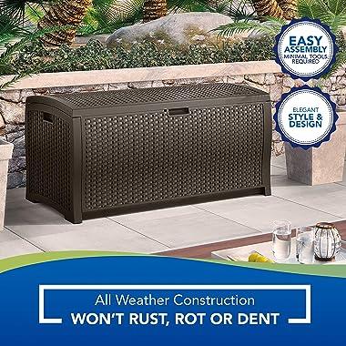Suncast 99 Gallon Resin Wicker Patio Outdoor Storage Container for Toys, Furniture Deck box, Mocha