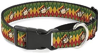 "Buckle Down Martingale Dog Collar - Smoking Monkey Repeat Argyle Rasta - 1"""
