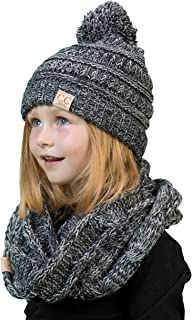 Funky Junque Girls Boys Infinity Scarf Matching Hat Beanie Tail Headwrap Bundle