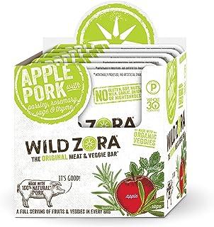 Wild Zora Meat and Veggie Bars - Apple Pork - Healthy Jerky Paleo Snacks with Organic Veggies - AIP Snacks, Gluten Free, S...