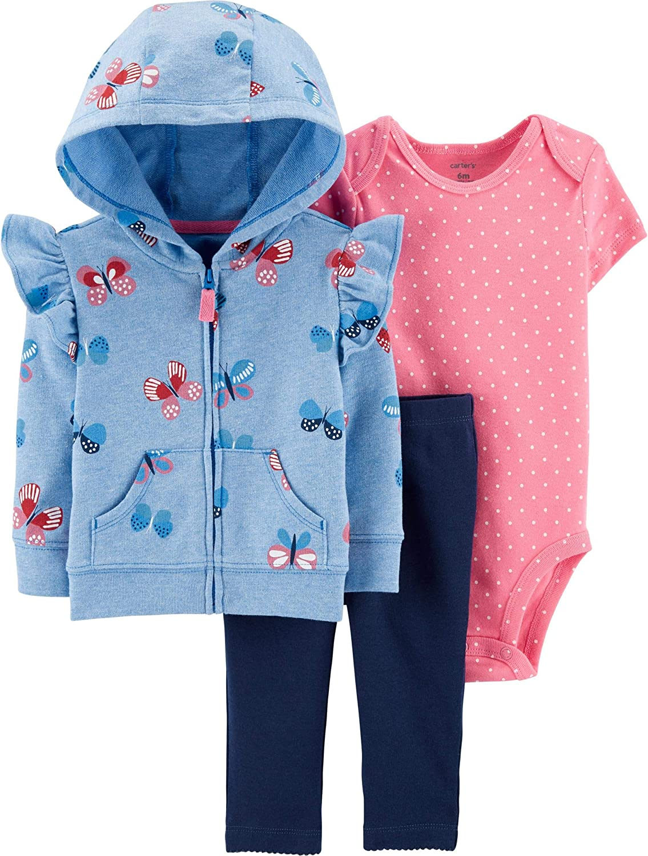 Carter's 3-Piece Zip-Up Butterfly Hooded Jacket, Bodysuit and Pants Set, Newborn Blue