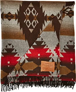 True Grit Men's Apache Fringes Blanket Brown One Size