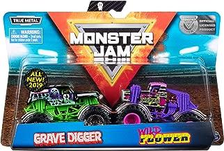 Monster Jam Official Grave Digger vs. Wild Flower Die-Cast Monster Trucks, 1:64 Scale, 2 Pack