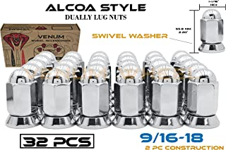 32 Pc Alcoa Style Lug Nuts With Pressed In Washer | 9/16-18 Thread Fits | 1988-1998 Ford F-250 F-350 | 1994-2011 Dodge Ram 2500 3500