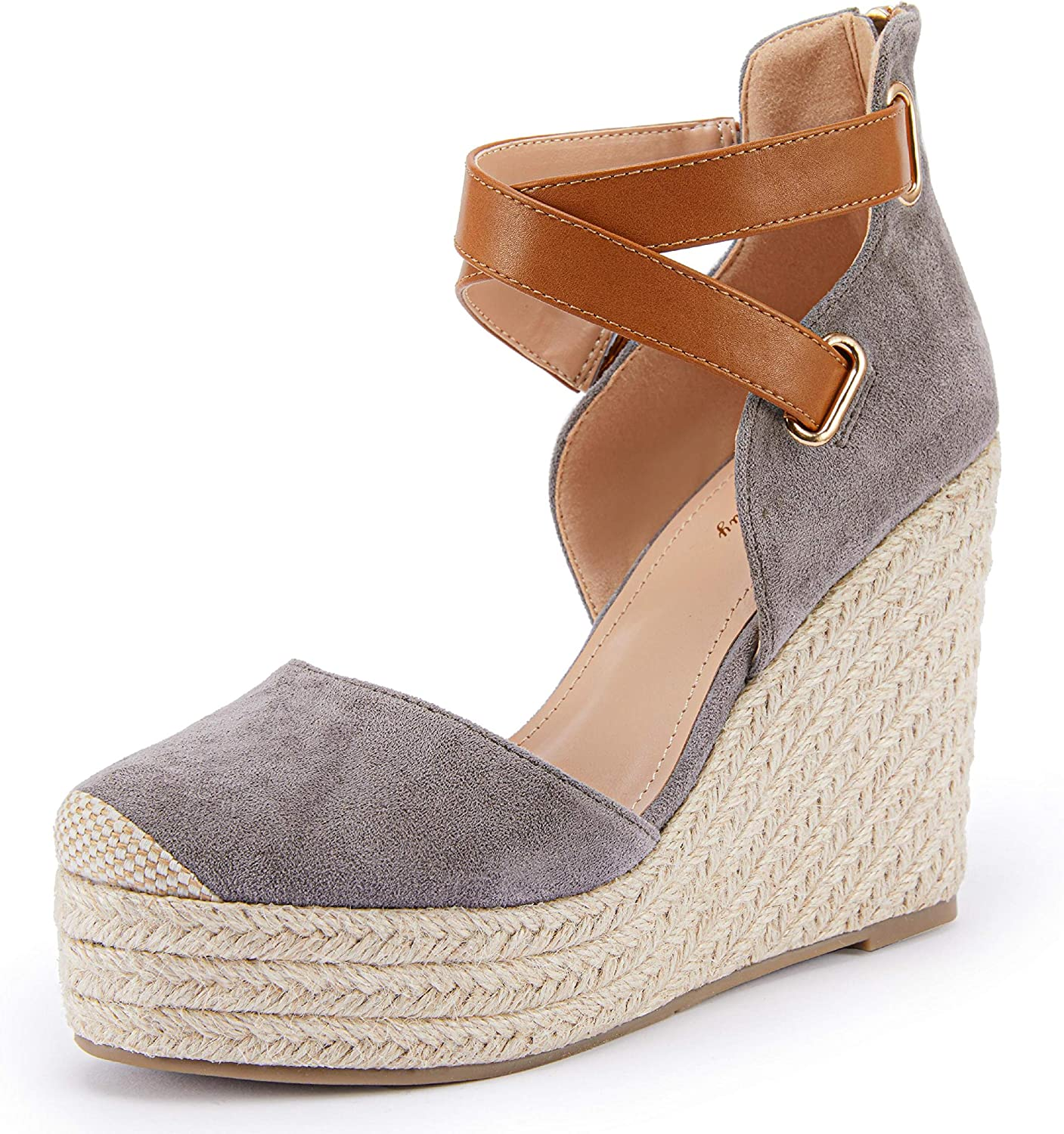 Store PiePieBuy Womens Wedge Espadrille Ankle Opening large release sale Pla Closed Toe Strap Cap