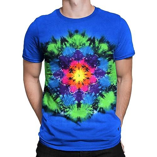 9421e02a Liquid Blue Men's Unprinted Rainbow Mandala Tie Dye Short Sleeve T-Shirt