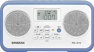 Sangean PR-D19BU FM Stereo/AM Digital Tuning Portable Radio with Protective Bumper (White/Blue)