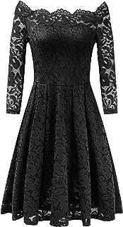 Women's Off Shoulder Lace Party Cocktail A-Line Dress