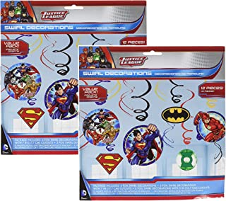 Adventure Filled Justice League Birthday Party Hanging Swirl Value Pack Decorations, Multi Colored, Foil, Assorted Sizes, 12-Piece (2 pack)