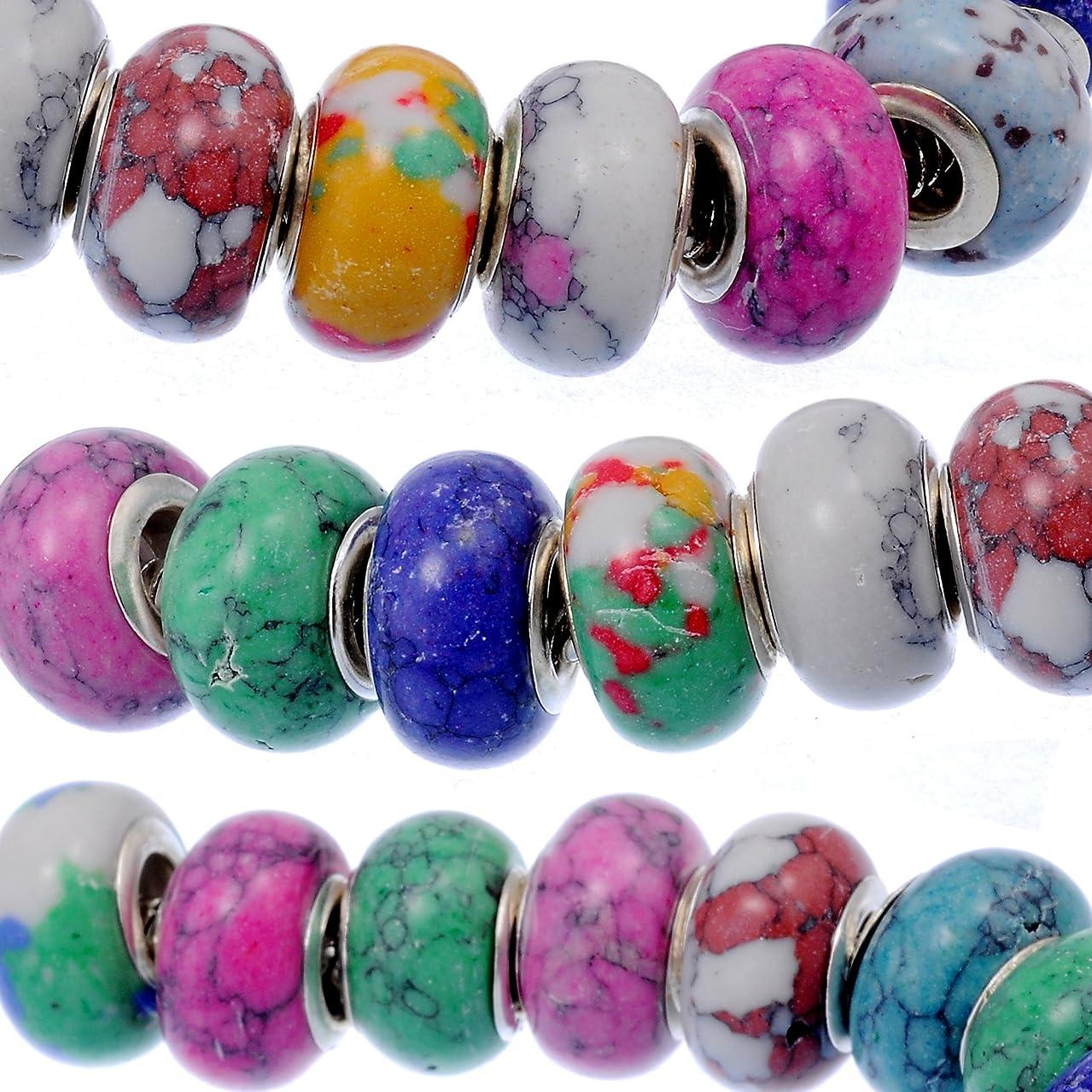 RUBYCA 50Pcs Mix Stone Charm Beads fit European Charm Bracelet for Jewelry Making 14MM