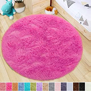 LOCHAS Luxury Round Fluffy Area Rugs for Bedroom Kids Nursery Rug Super Soft Living Room Home Shaggy Carpet 4-Feet, Hot Pink