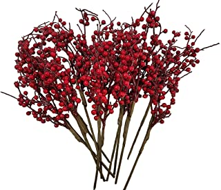 CraftMore Christmas Red Berry Twig Stem, 16 Inch, Set of 12