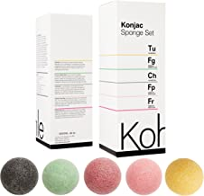 Konjac Sponge Set: (5 Pack) by Kohle Company UK. Organic 100% Natural Facial Cleansing, Suitable for Sensitive Skin, Including Charcoal, Turmeric, French Green, Red & Pink Clay. PLASTIC-FREE Packaging