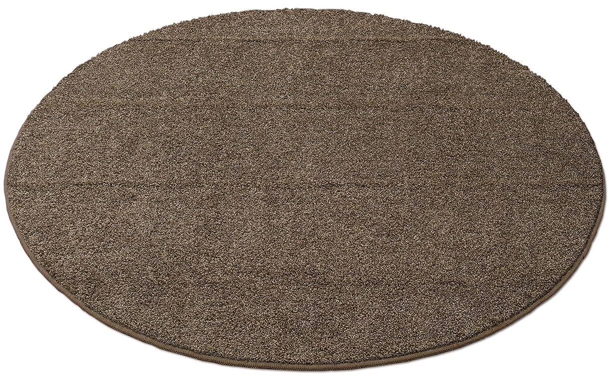 おいしい時間厳守ドアミラー洗える防ダニ シャギー円形ラグ 直径180cm ブラウン 1511000425M22