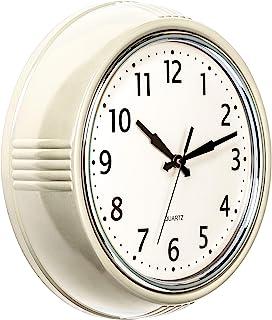 Bernhard Products Retro Wall Clock 9.5 Inch Cream Kitchen 50's Vintage Design Round Silent Non Ticking Quality Quartz Cloc...