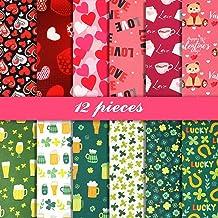 Konsait 8Pieces 10 x 10inch Valentines Day Fabric,Heart Stripe Patchwork Cotton Mixed Squares Bundle Sewing Quilting Craft Craft Fabric Bundle Squares Patchwork DIY Sewing Scrapbooking Quilting