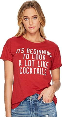 The Original Retro Brand - It's Beginning To Look A Lot Like Cocktails Slub Crew Neck T-Shirt