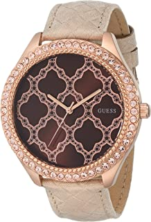 GUESS Women's U0579L2 Rose Gold-Tone Watch with Brown Dial & Genuine Leather Strap