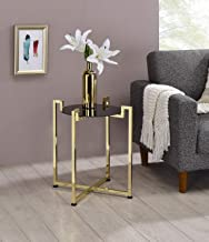 Kings Brand Furniture - Torbla Accent Side End Table, Metal & Glass, Brass/Black