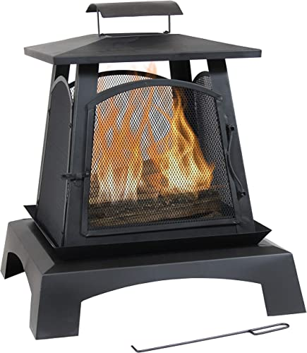 wholesale Sunnydaze Pagoda Style Steel Fire Pit - Metal Wood-Burning Enclosed Outdoor Fireplace with 2021 Log Grate and Poker - Modern Bonfire for Backyard new arrival and Patio - 32-Inch online