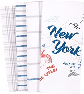 KAF Home Pantry New York State Kitchen Dish Towel Set of 4, 100-Percent Cotton, 18 x 28-inch