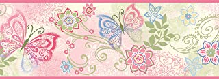 Chesapeake TOT46451B Fantasia Pink Boho Butterflies Scroll Wallpaper Border