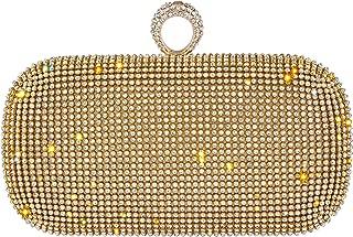 Bagood Women's Shining Rhinestones Square Shape Ring Evening Bag Hard Case Clutches Purses